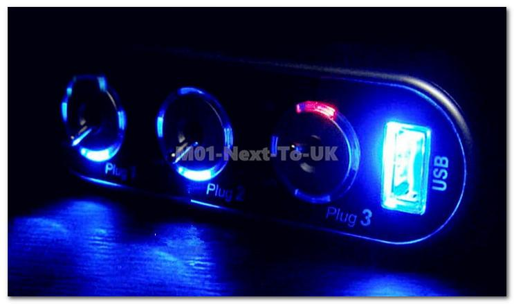 Blue LED In Car Triple 3 Socket Switch USB Port Lighter Cigarette Pow