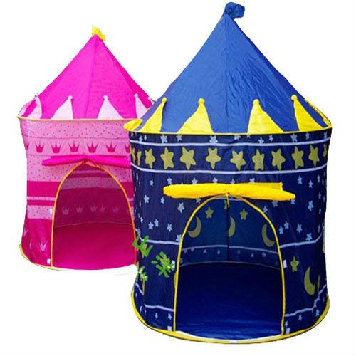 NEW - Blue Prince/Pink Princess Pop Up Castle Play Tent for Kids