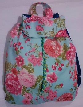 Blue Red Flower Backpack