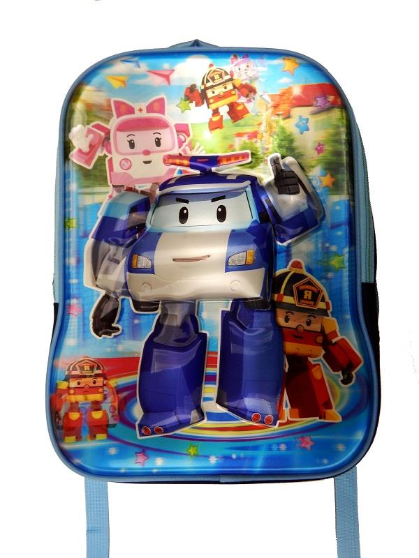 Blue Robocar Poli 5D School Bag 2 Zip (For Ages 5 - 11 Years)