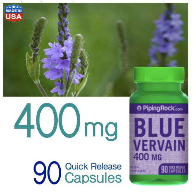 Blue Vervain 400mg, 90 Caps (Detox, Depression, Respiratory Disorders)