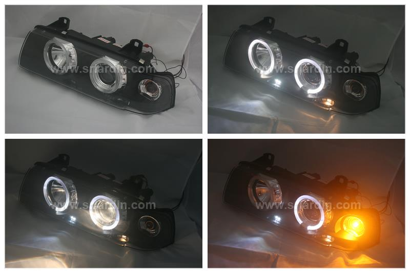 BMW 3 SERIES E36 4D Black Projector Headlamp w Ring