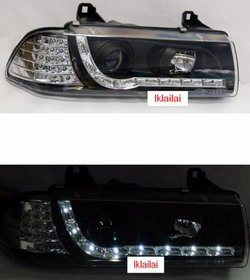 BMW E36 2D/3D/4D '91-97 Projector Head Lamp [R8 Look] LED Corner