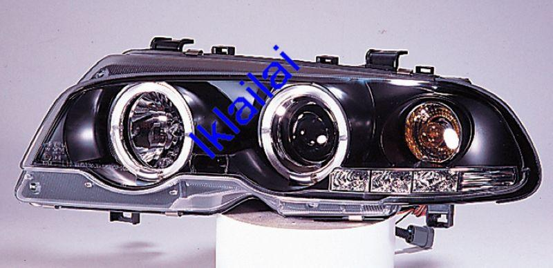 Bmw E46 98-01 2D Projector HEAD LAMP CCFL Ring With Motor Black