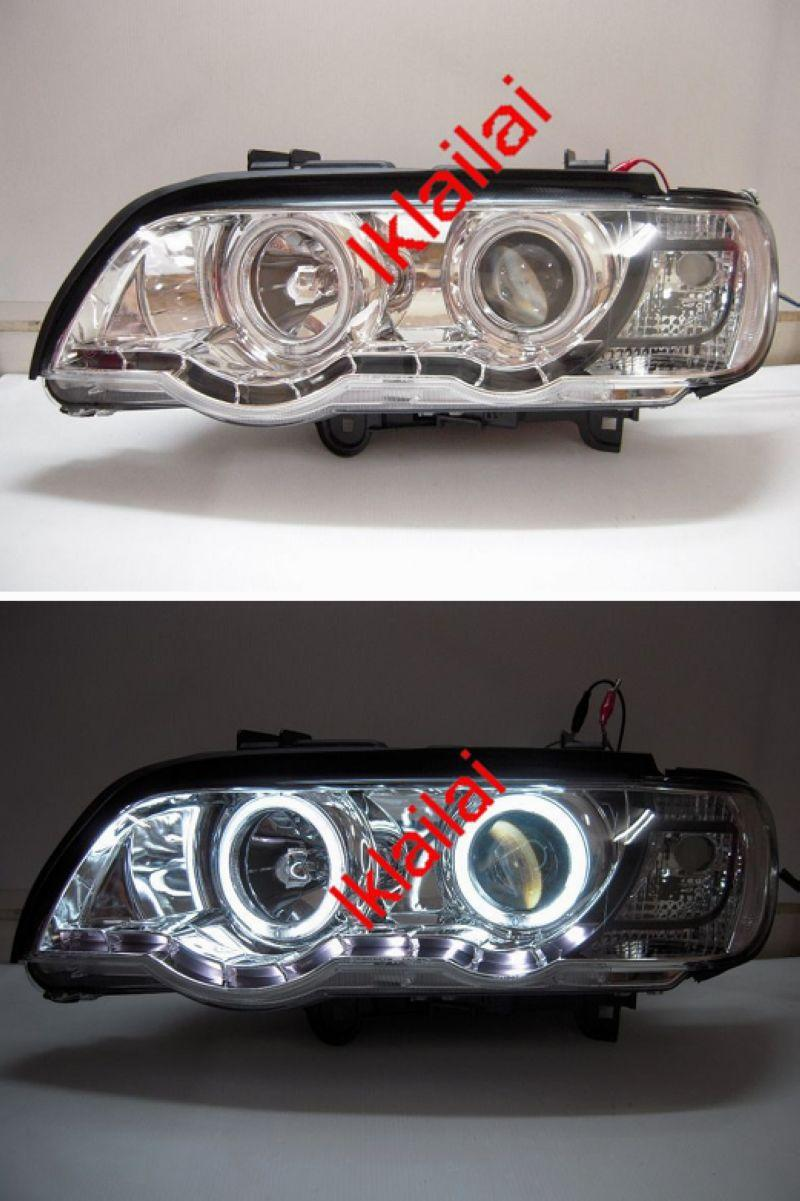 BMW E53 X5 Projector Head Lamp Dual CCFL+R8 DRL Look+Motor [Chrome Hou