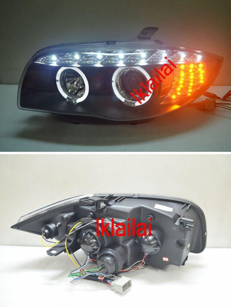 BMW E87 LED Projector Head Lamp with LED Signal [Black Housing]