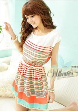 Bohemian Stripe Mini Dress (iJP041418)