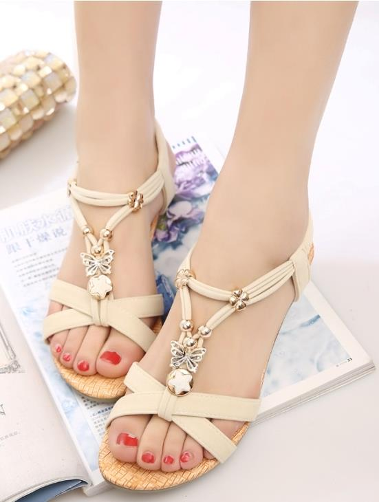 Bohemian Style Cross Sandals (Cream)