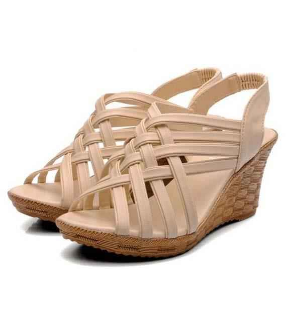Bohemian Style Cross Wedge Sandals (Beige)