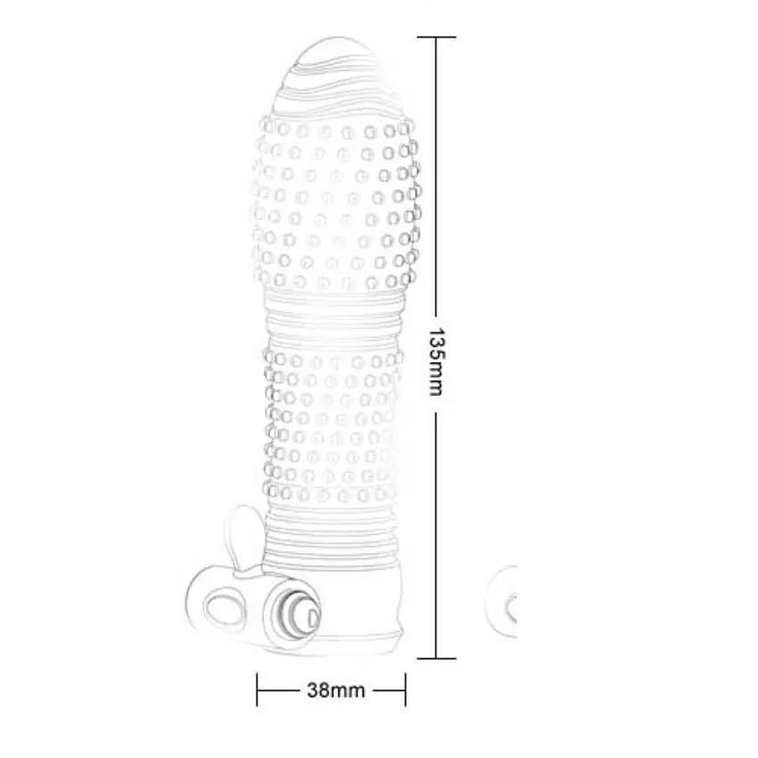 Bola Vibrate Silicone Crystal Cock Sleeve 135 x 38 mm