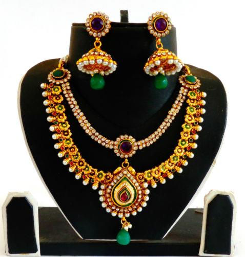 Bollywood Style One Gram Gold Plated String Style Neckalce set-JWOG204