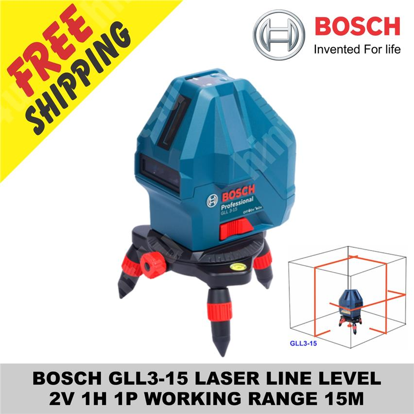 BOSCH GLL 3-15 LASER LINE LEVEL  2V 1H 1P WORKING RANGE 15M