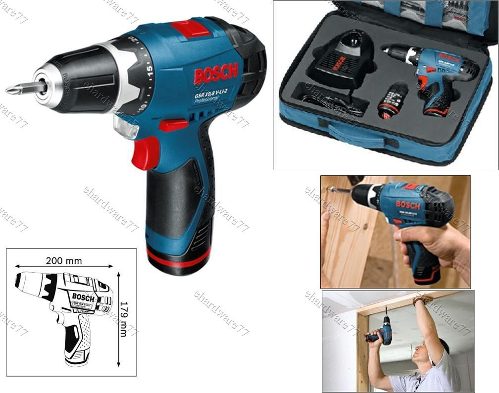 bosch lithium ion gsr 10 8v li 2 cordless drill set 2. Black Bedroom Furniture Sets. Home Design Ideas
