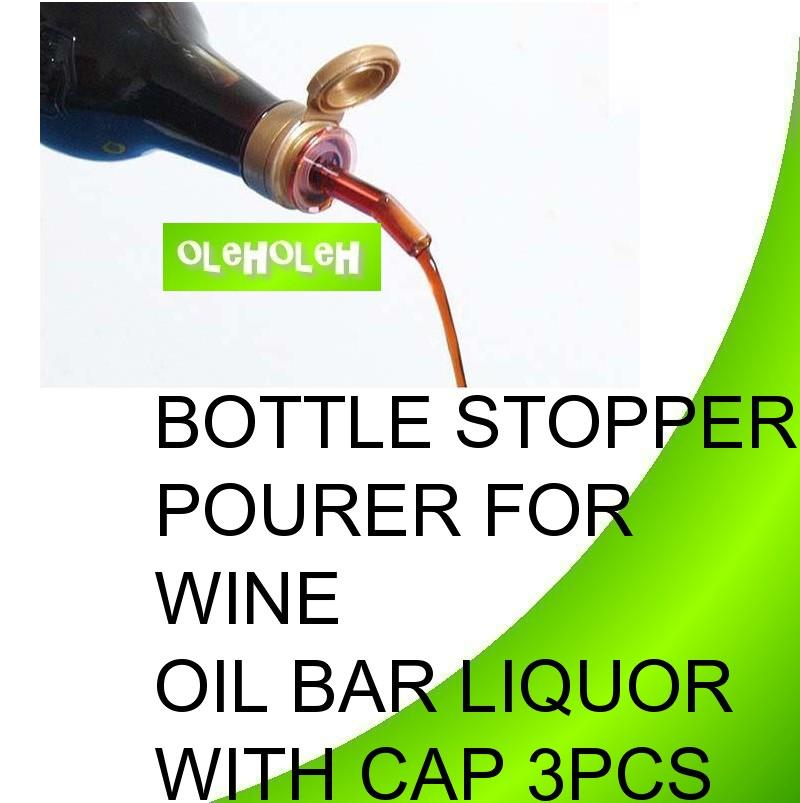 Bottle Stopper Pourer For Wine Oil Bar Liquor With Cap 3pcs