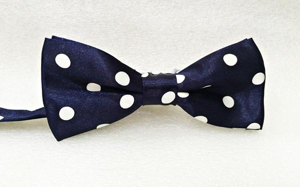 Bow Tie Dark Blue Big Polka Dot (Free Shipping)
