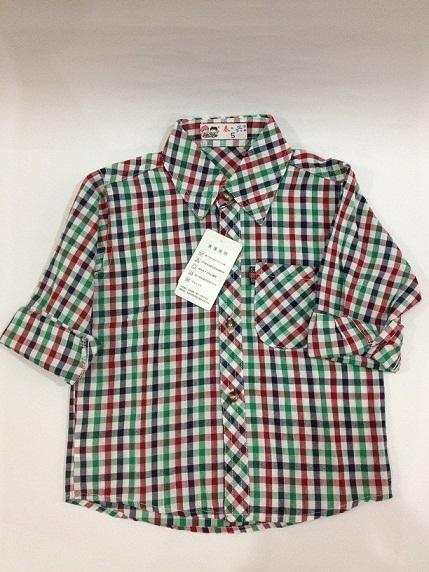 Boys Long-Sleeved Checked Button-Up Shirt for age 1-6 years old