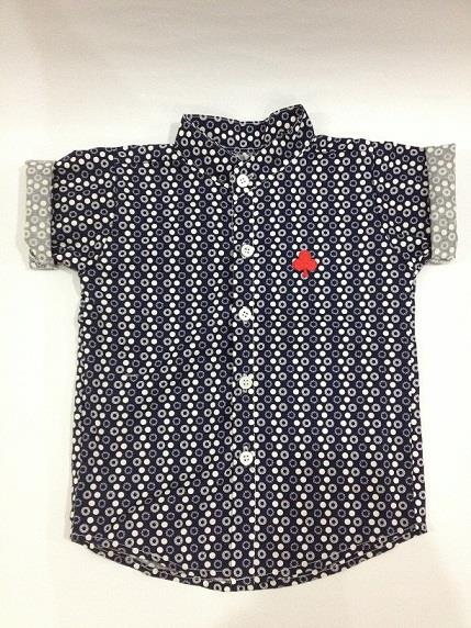 Boys Short-Sleeved Polka Dot Button-Up Shirt for age 1-6 years old