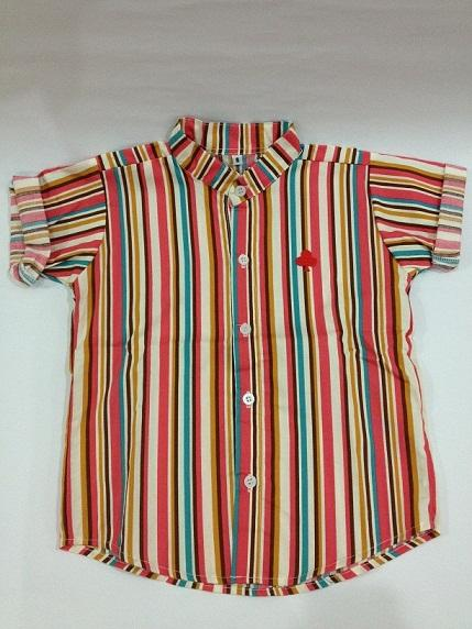 Boys Short-Sleeved Striped Button-Up Shirt for age 1-6 years old