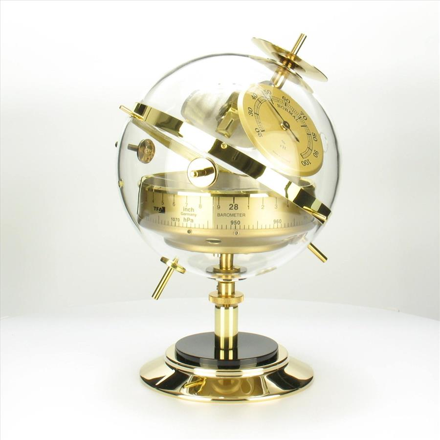 BRAND NEW GERMAN SPUTNIK BAROMETER 3 IN 1 WEATHER STATION IN GOLD