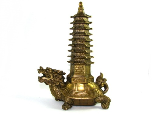 Brass Feng Shui Pagoda on Tortoise for Academic and Career Luck