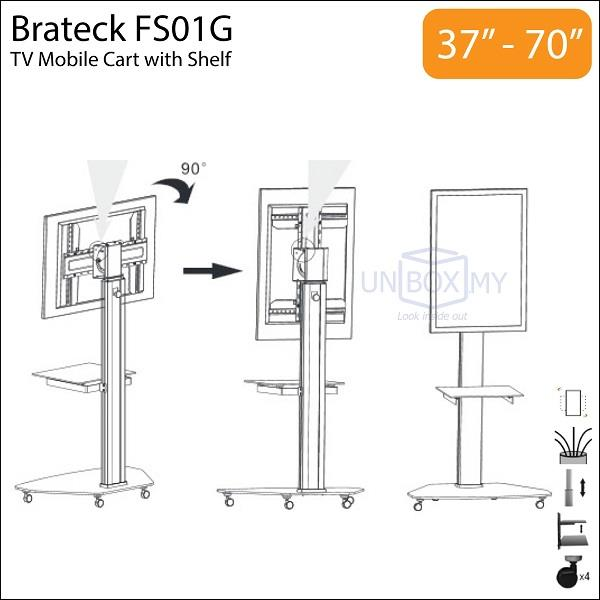 brateck fs01g 37 70 inch height adjustable tv cart end 3. Black Bedroom Furniture Sets. Home Design Ideas