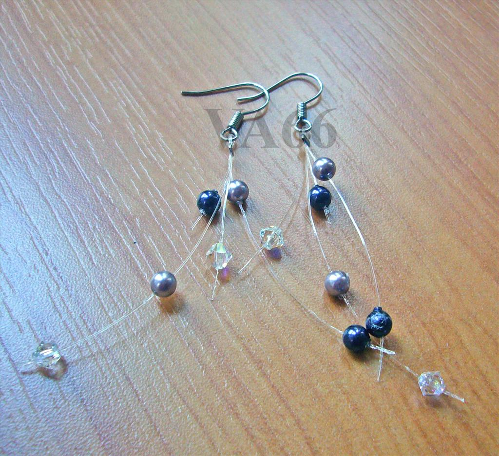 Bridal 4 Strand Earrings Floating Illusion Swarovski Crystal Pearl