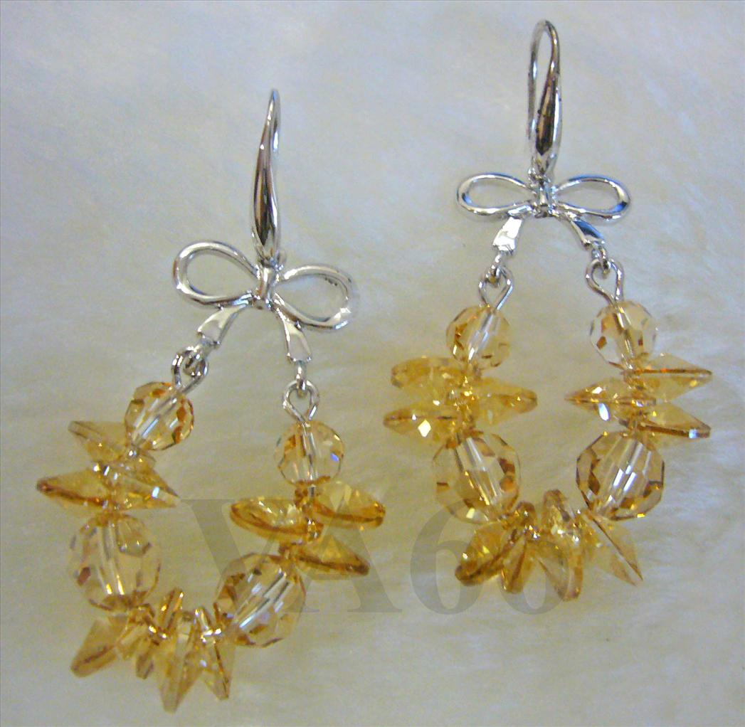Bridal Champagne Golden Shadow Swarovski Crystal Hook Earrings 18KGP W..