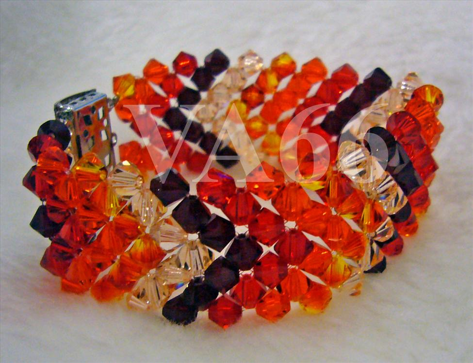 Bridal Orange Red Fire Shades Swarovski Crystal 7 row 5mm Bicone Brace..