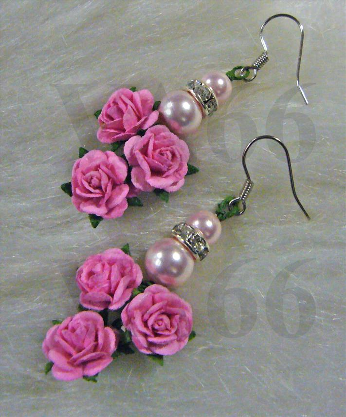 Bridal Pink Pearl Earrings with Rose Flowers Rhinestone Diamond Seps