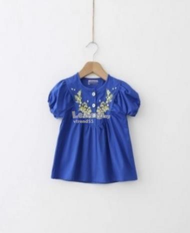 Bright Blue Short Sleeve Shirt for girls *Clearance*