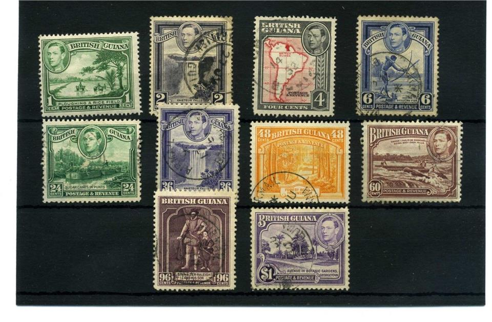 BRITISH GUIANA 10 pcs KGVI 1938 USED PICTORIAL STAMPS BJ287