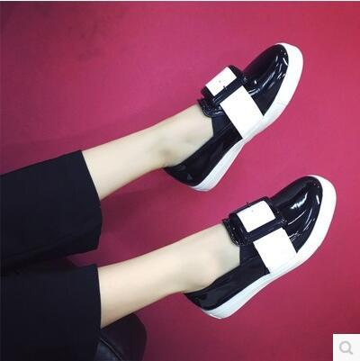 British wind color-mixed square buckle flat Carrefour shoes