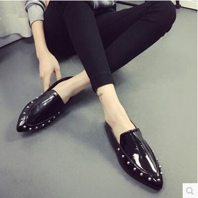 British wind pointed fashion rivet leather Carrefour shoes