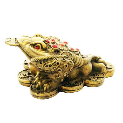 Bronze Three Legged Toad on Bed of Coins