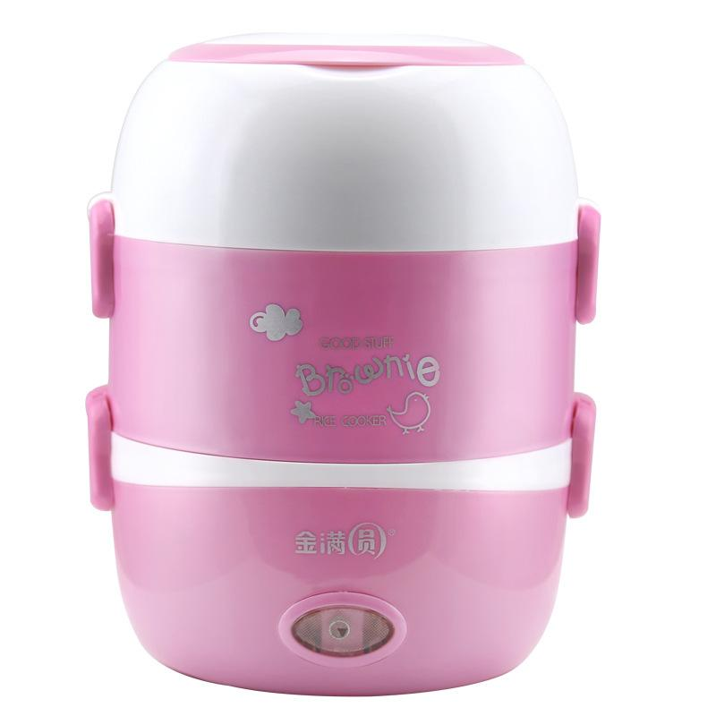 BROWNIE 3 Layer Electric Lunch Box / Steamer(Pink)