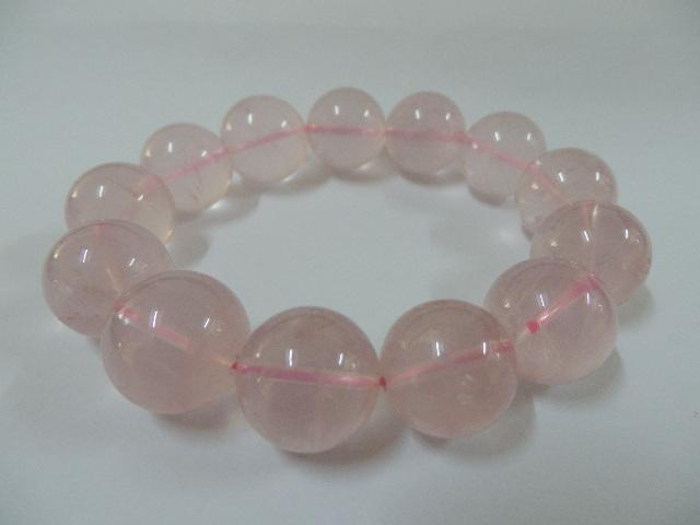 BRQ2 Rose Quartz, Pink crystal bracelet, 15mm