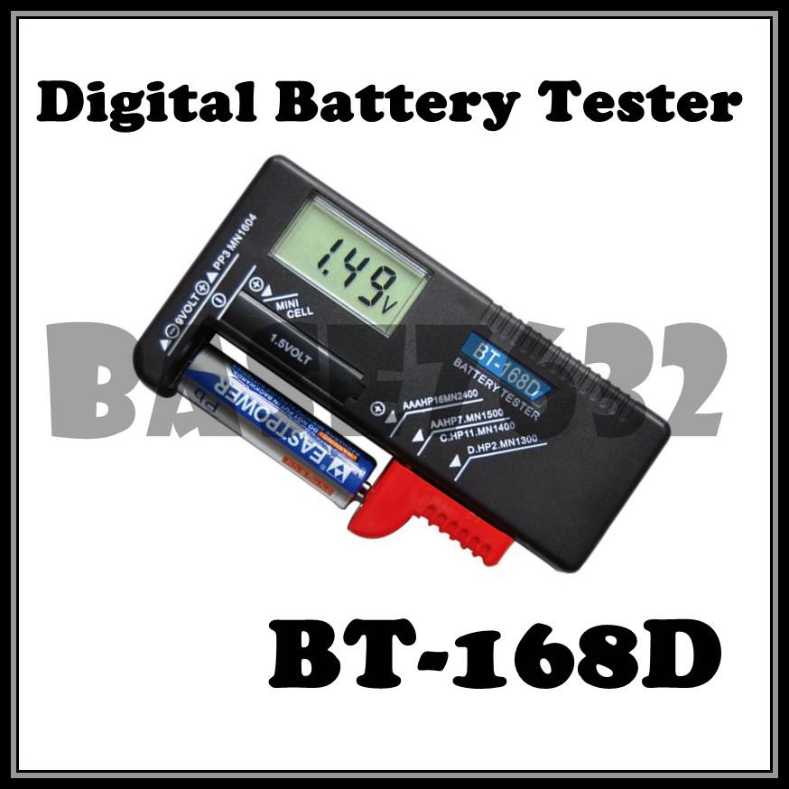 BT-168D Digital Battery Checker Tester AAA/AA/C/D 9V 1.5V LCD Display