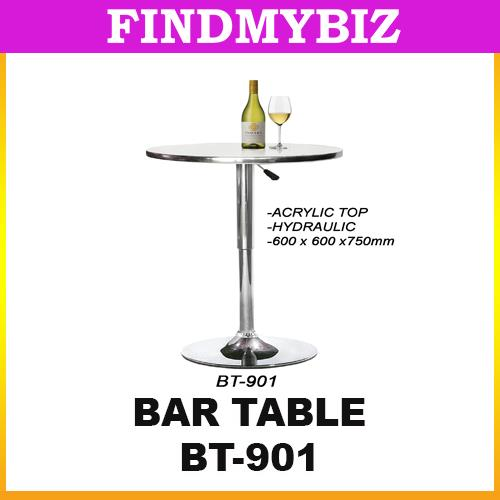 BT-901 CIRCLE ROUND HIGH ACRYLIC TOP ADJUSTABLE BAR TABLE CAFE PUB