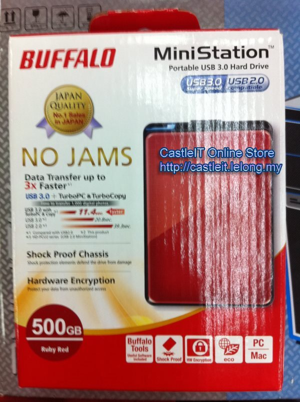Buffalo Ministation Plus 500GB RED 2.5 Portable HDD (HD-PNT500U3R)