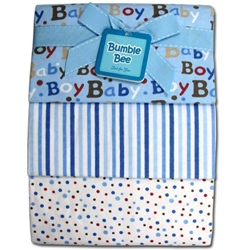 Bumble Bee 3PC Receiving Blankets Blue-Polka - BLK0023