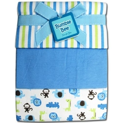 Bumble Bee 3PC Receiving Blankets Blue-Stripe - BLK0019