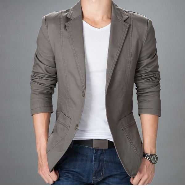 product features casual thin lightweight jacket with leather sleeve and slim pattern.