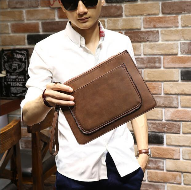 Business large capacity crazy horse leather envelope bag