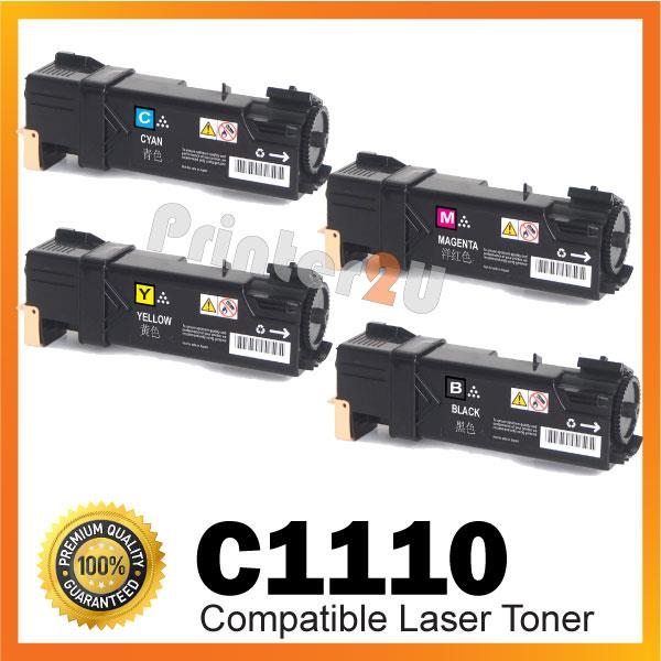 C1110 Black n Color Cartridge@Compatible Fuji Xerox C 1110 1110B Toner
