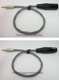 (Cable Set)3.5mm Stereo Plug - 3 Pin XLR Male or Female (30cm)