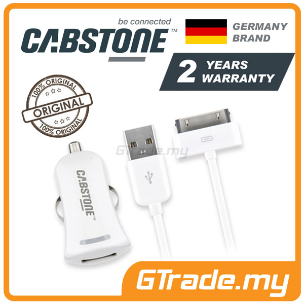 CABSTONE 2.1A Car Charger Cable 30-PIN | Apple iPhone 4S 4 3GS 3