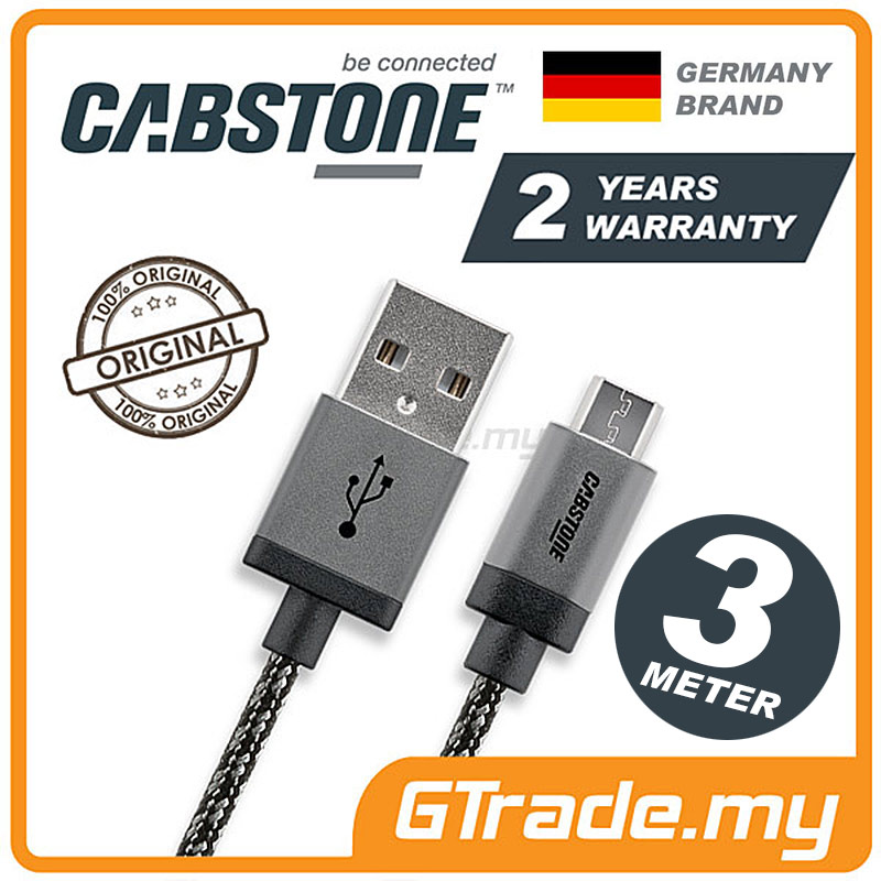 CABSTONE Metal Charger Micro USB 3M Samsung Galaxy S7 Edge S6 S5 S4 S3