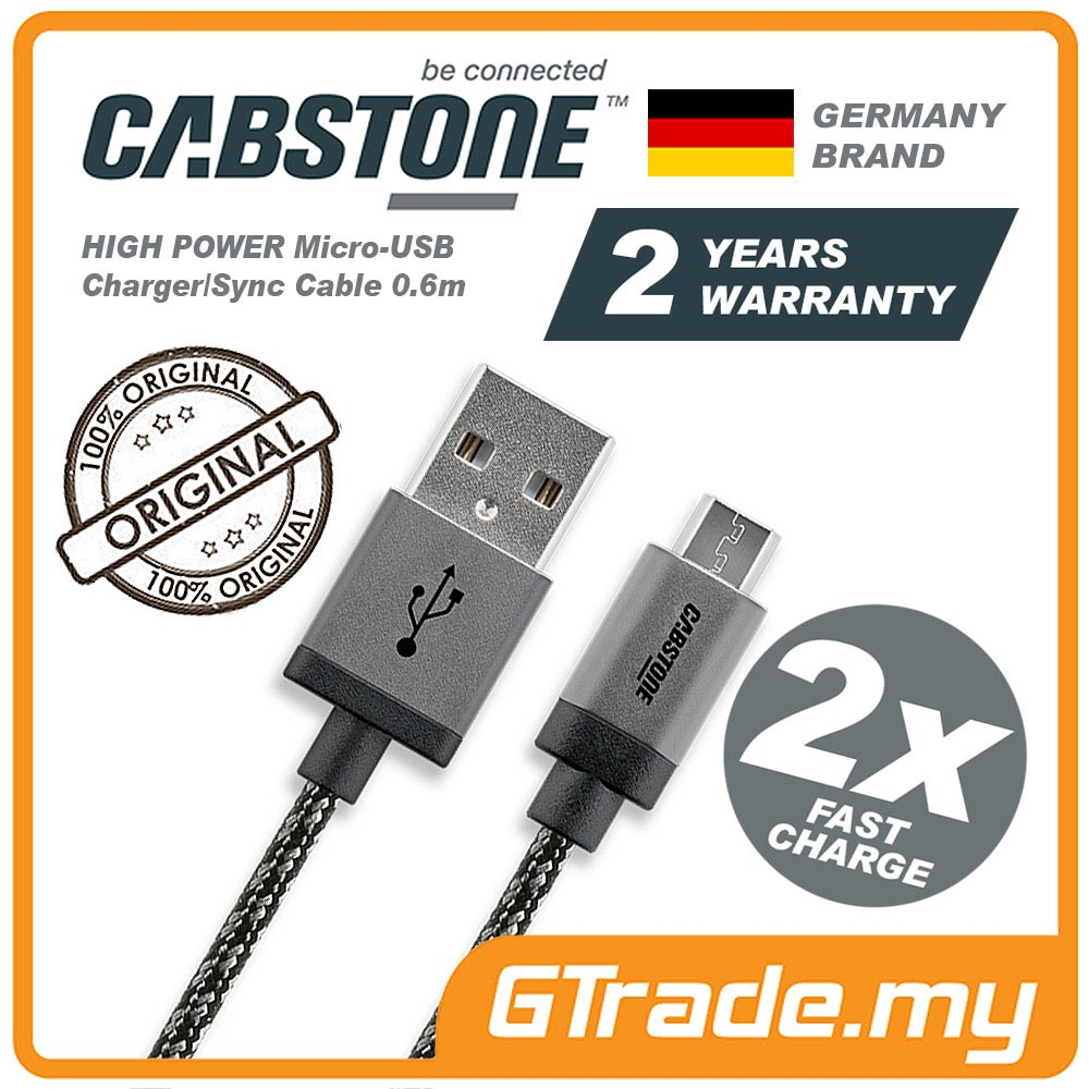CABSTONE Metal Fast Charge Micro-USB Cable Samsung Galaxy Note Tab S
