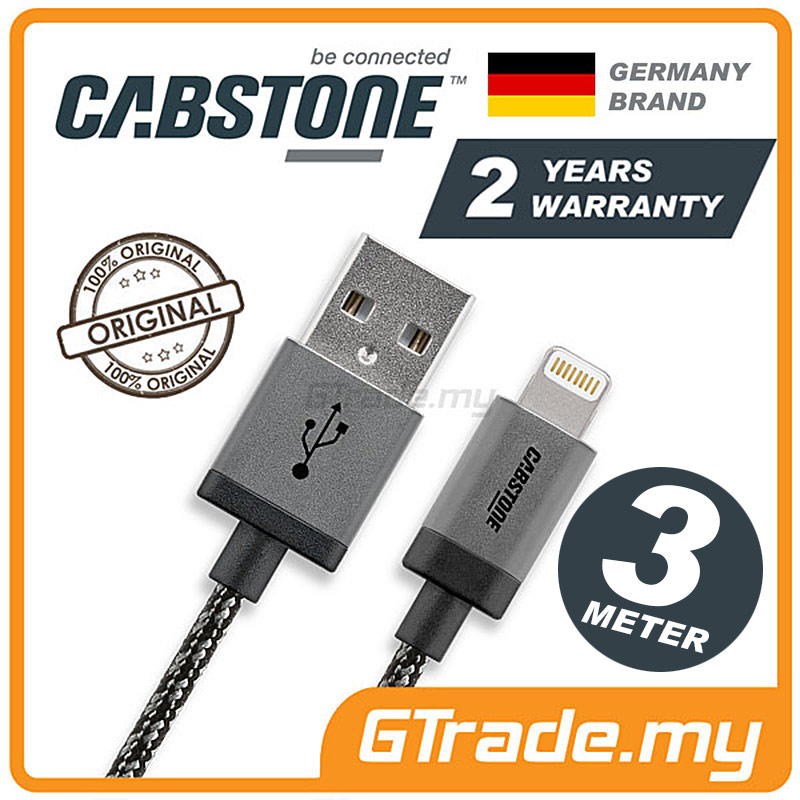 CABSTONE Metal Lightning Charger USB Cable 3M Apple iPhone SE 5S 5C 5