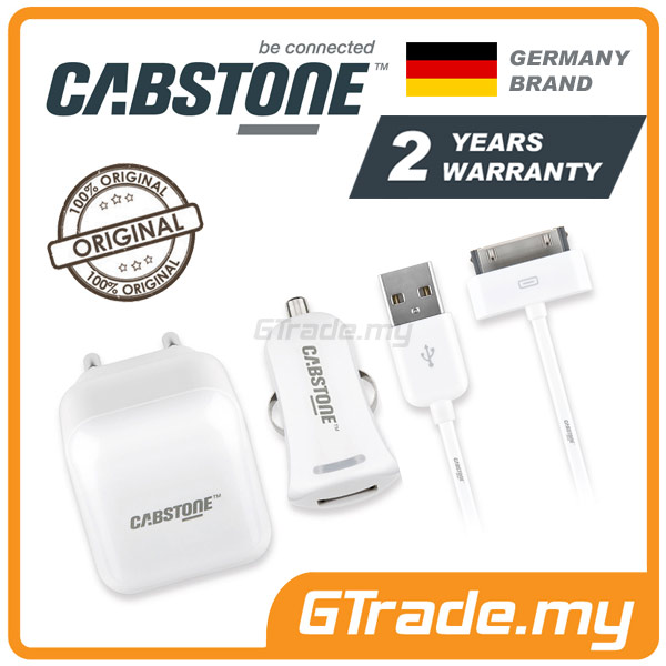 CABSTONE Travel Car Cable Charger 30-PIN | Apple New iPad 3 2 1 iPod